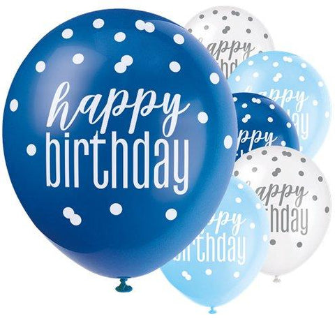 Blue Birthday Glitz Balloons