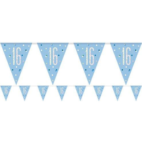 Age 16 Blue Birthday Glitz Prismatic Bunting