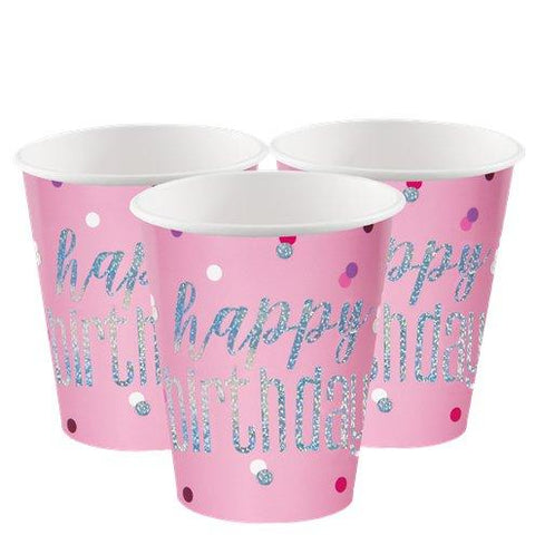 Pink Birthday Glitz Paper Cups
