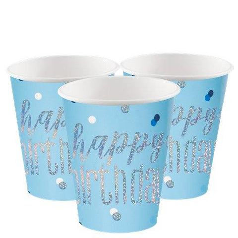 Blue Birthday Glitz Paper Cups