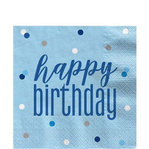 Blue Birthday Glitz Napkins