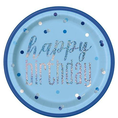Blue Birthday Glitz Paper Plates