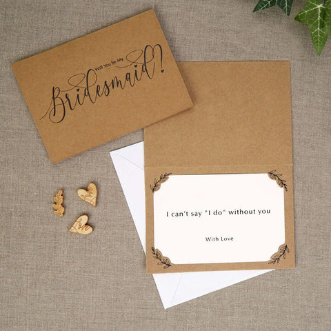 Kraft Will you be my Bridesmaid Cards-3 Pack