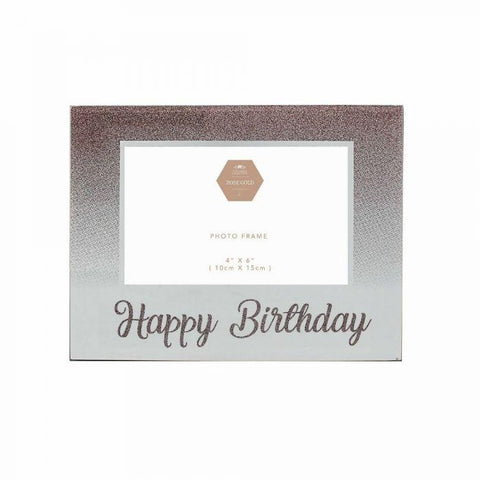 Rose Gold Happy Birthday Glitter Photo Frame