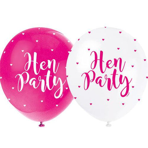 Pink and White Hen Party Balloons