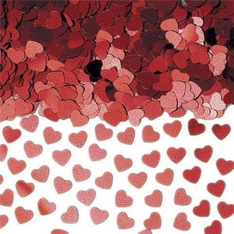 Red Metallic Heart Foil Confetti 14g