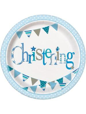 "Blue Christening 9"" Paper Plates"