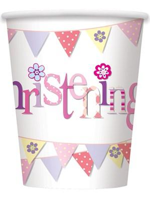 Pink Christening Paper Cups