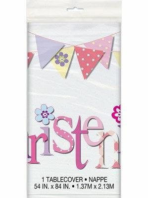 Pink Christening Tablecover