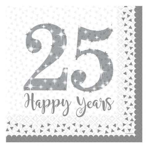 25th Silver Wedding Anniversary Lunch Napkins 16pk