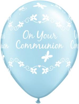 "Pearl Light Blue Communion 11"" Latex Balloons 6pk"