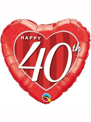"40th Anniversary Heart Shaped 18"" Foil Balloon"