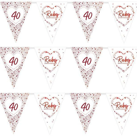 40th Ruby Wedding Anniversary Flag Bunting - 3.7m