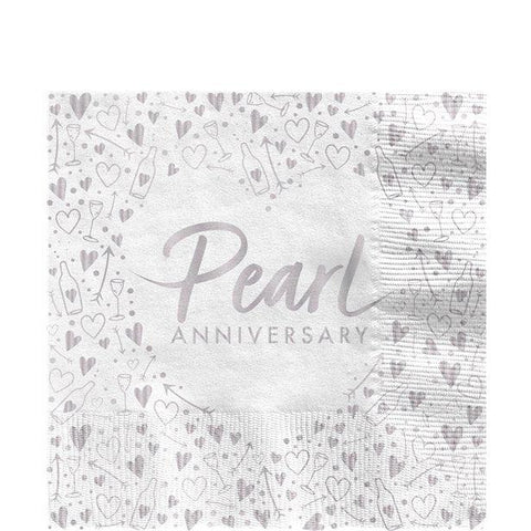 30th Pearl Wedding Anniversary Napkins - 33cm