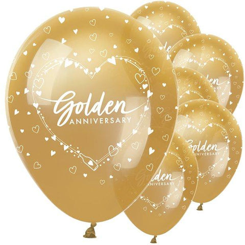 "50th Golden Wedding Anniversary Balloons - 12"" Latex"