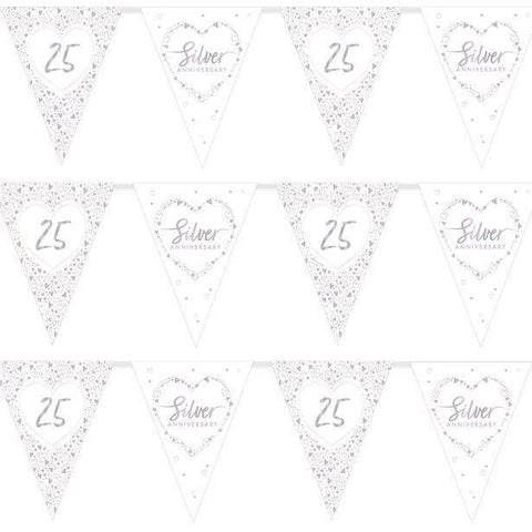 25th Silver Wedding Anniversary Flag Bunting - 3.7m