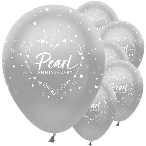 "30th Pearl Wedding Anniversary Balloons - 12"" Latex"