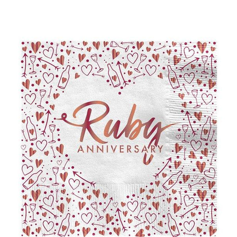 40th Ruby Wedding Anniversary Napkins - 33cm