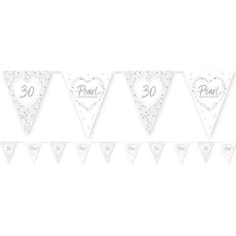 30th Pearl Wedding Anniversary Flag Bunting - 3.7m