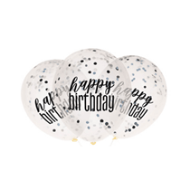 Black Glitz Happy Birthday Confetti Latex Balloons 6pk