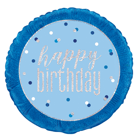 "Blue Glitz Happy Birthday Foil Prismatic 18"" Balloon"