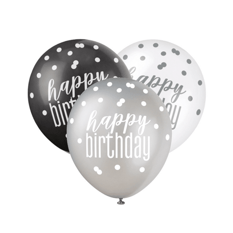 Black, Silver & White Glitz Happy Birthday Latex Balloons 6pk