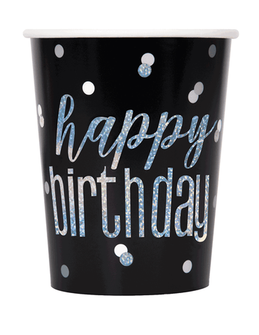 Black Glitz Foil Stamped Happy Birthday Paper Cups