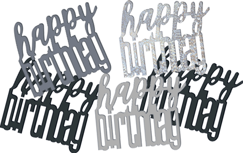 Black Glitz Happy Birthday Foil Confetti 14g