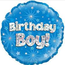 "Birthday Boy Blue Holographic 18"" Foil Balloon"