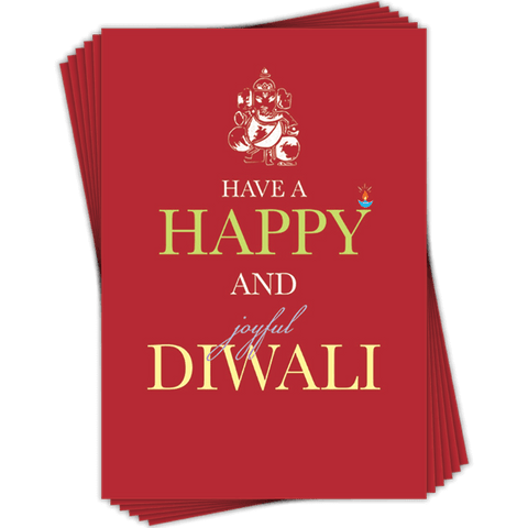 Greetings cards Happy and Joyful Small Red Diwali Card
