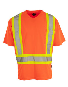 Hi Vis V-Neck Short Sleeve Safety Tee Shirt with 3M Reflective Tape