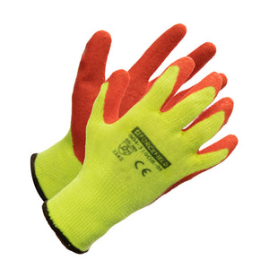 Hi-Vis Nylon Work Glove, Palm Coated with Crinkle Latex