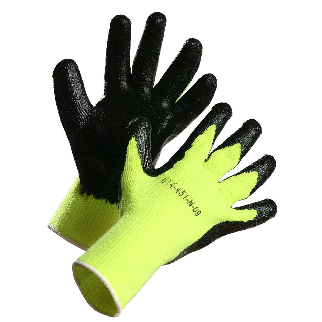 Heavy Knit Hi Vis Nitrile Palm Coated Work Glove - Lime