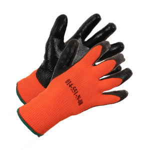 Heavy Knit Hi Vis Nitrile Palm Coated Work Glove - Orange