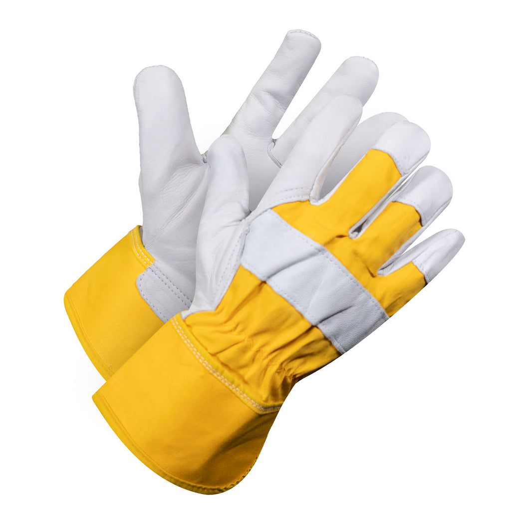 Yellow Goat Skin Glove With Plain Palm & Rubber Cuff