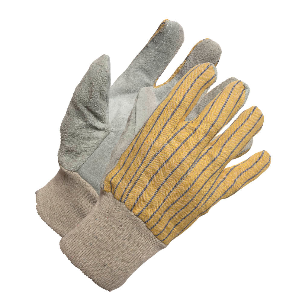 Ladies KW Split leatherPalm Stripe Cotton Back Work Glove