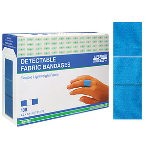 Fabric Detectable Bandages, 2.2 x 7.6 cm, Lightweight, 100/Box