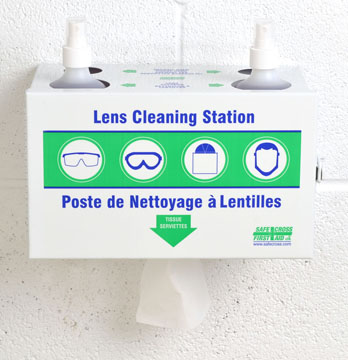 Lens Cleaning Station w/2 x 500 mL Cleaner & 1 x 300 Tissues, Metal
