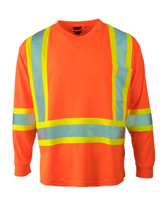 Hi Vis V-Neck Long Sleeve Safety Tee - Hi Vis Safety