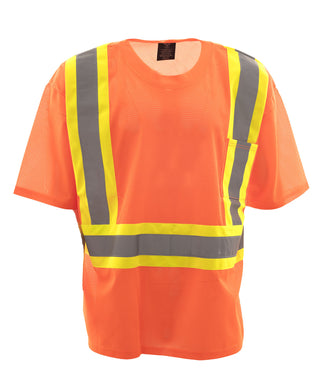 Orange Mesh Crew Neck T-shirt CSA Class 2 Level 2 - 3XL