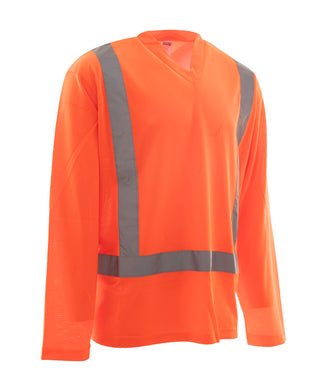 Orange Poly Mesh Long Sleeve T-shirt - 3X