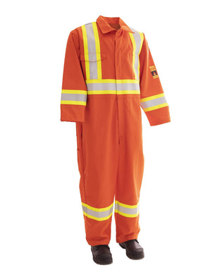 Orange FR Treated 100% Cotton Coverall with Reflective Tape