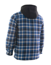 Load image into Gallery viewer, Blue Plaid Hooded Quilted Flannel Shirt Jacket