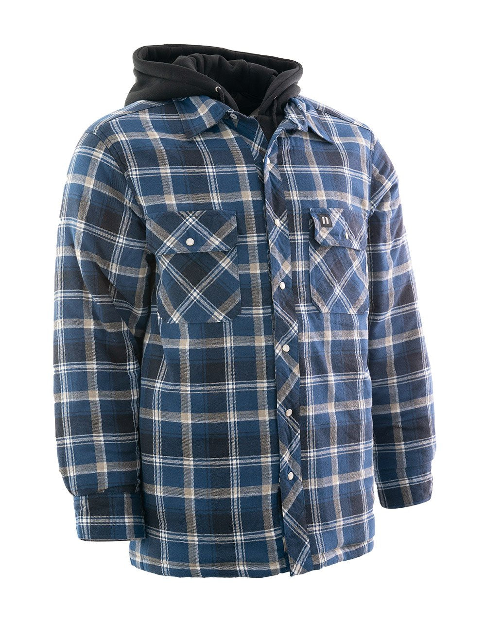 Blue Plaid Hooded Quilted Flannel Shirt Jacket