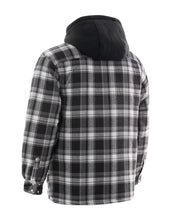 Load image into Gallery viewer, Grey Plaid Hooded Quilted Flannel Shirt Jacket