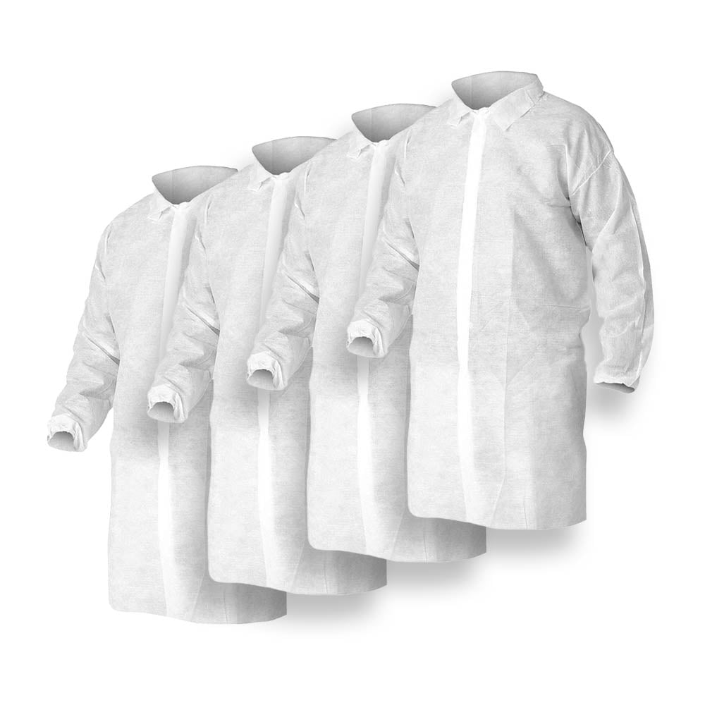 White Polypropylene Lab Coat 25/Pack