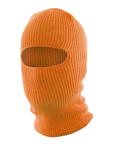 Orange Knitted Acrylic Balaclava, one opening
