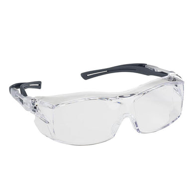 Safety Glasses EZ-ON, Adjustable Clear Lens 4A, Anti-Fog, Anti-Scratch, Anti-Static