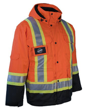 Load image into Gallery viewer, 3-in-1 Hi Vis Winter Safety Parka with Removable Black Nylon Puff Jacket - Hi Vis Safety