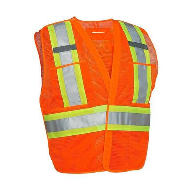 5-Point Tear-away Hi Vis Mesh Traffic Safety Vest, 3 Sizes - Hi Vis Safety